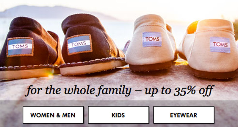 TOM'S Shoes for as low as $18.99 per pair 45083