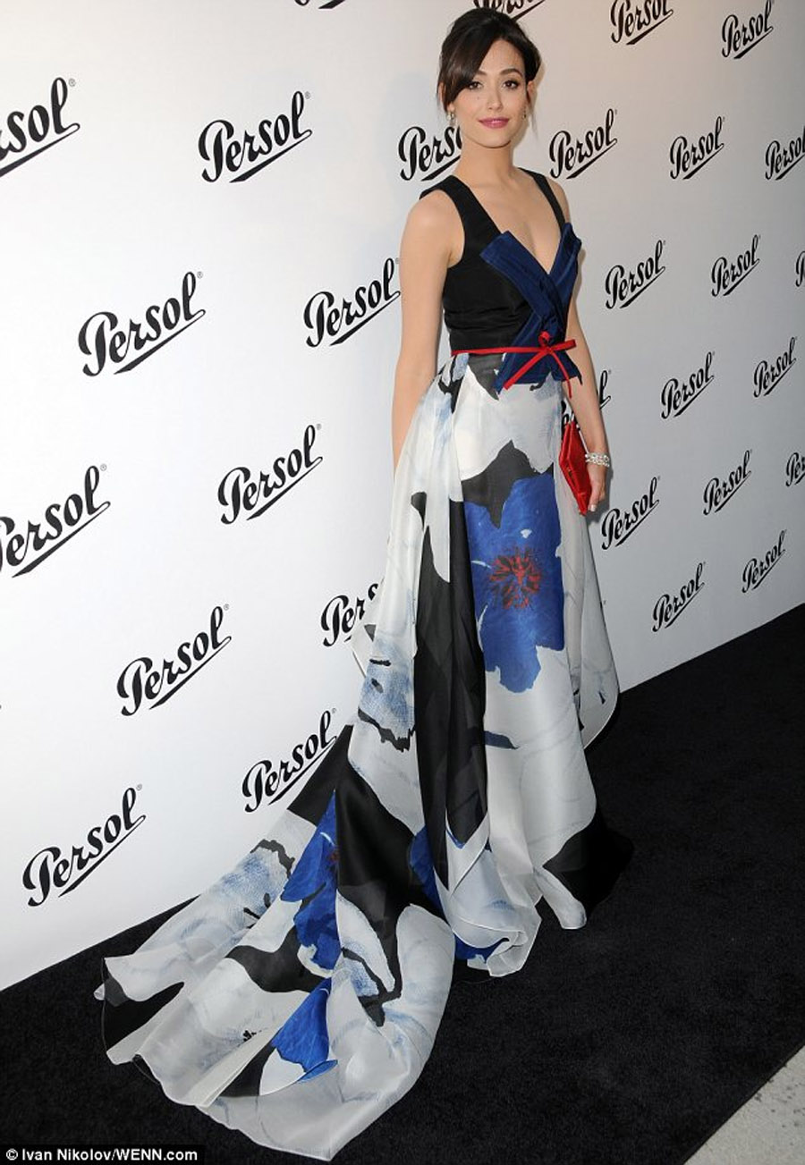 Drama queen! Emmy Rossum makes a bold entrance in flowing printed gown as she leads stars at exhibition opening 45288