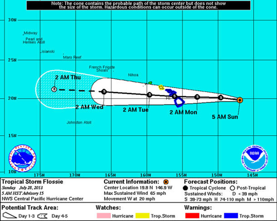 Tropical Storm Flossie yields flood warnings in Hawaii 45514