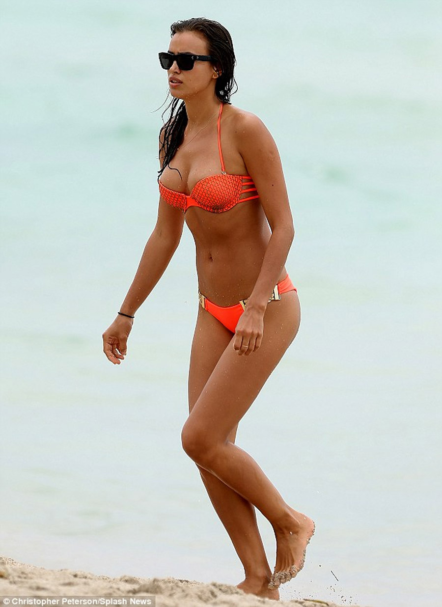 Who needs a catwalk? Irina Shayk brings the heat to Miami's Swim Week while going for a quick dip in a cheeky bikini 45793