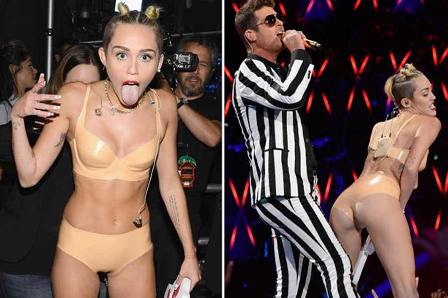 Miley Cyrus wears nude PVC hot pants in most daring performance yet 46263