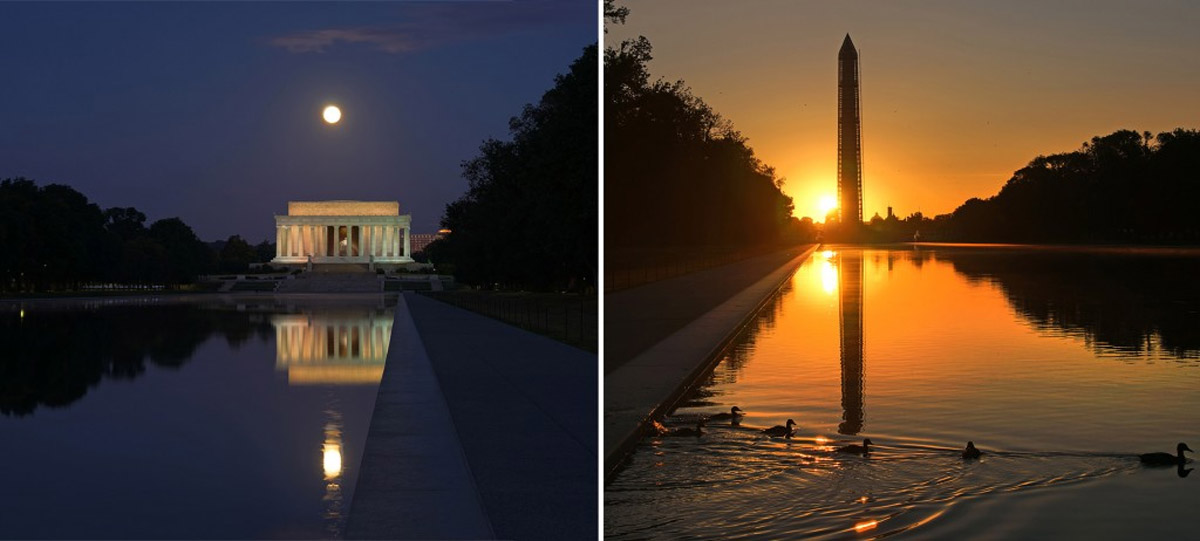 The Harvest Moon sets over the Lincoln and the sun rises over the Capitol 46524
