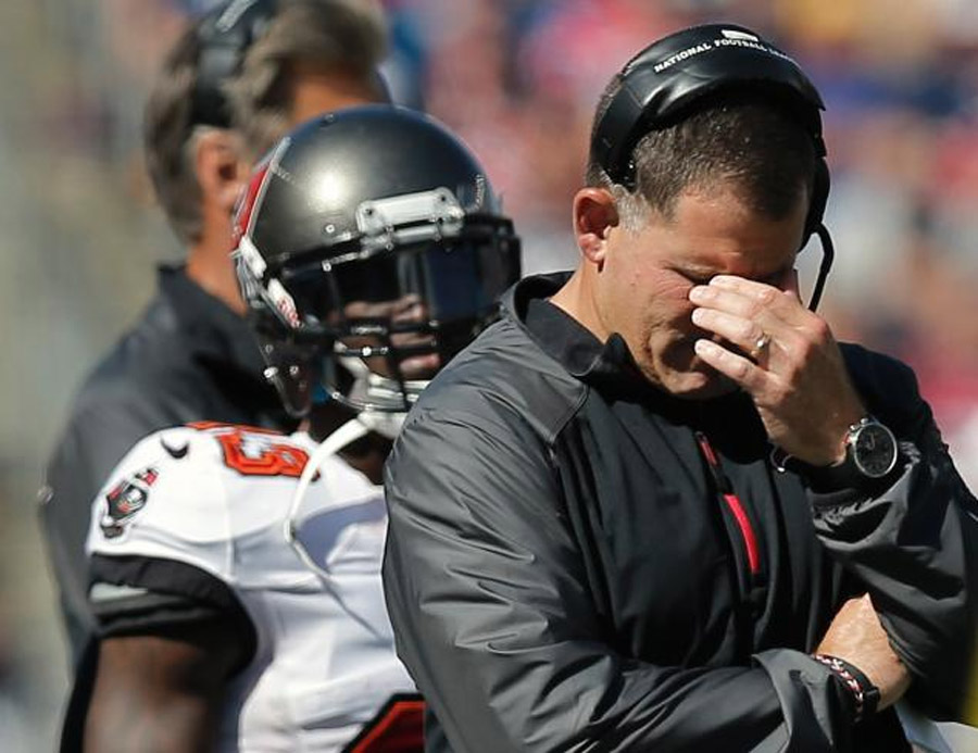 Greg Schiano's job at risk after a big fall to Patriots Buccaneers third consecutive loss 46595