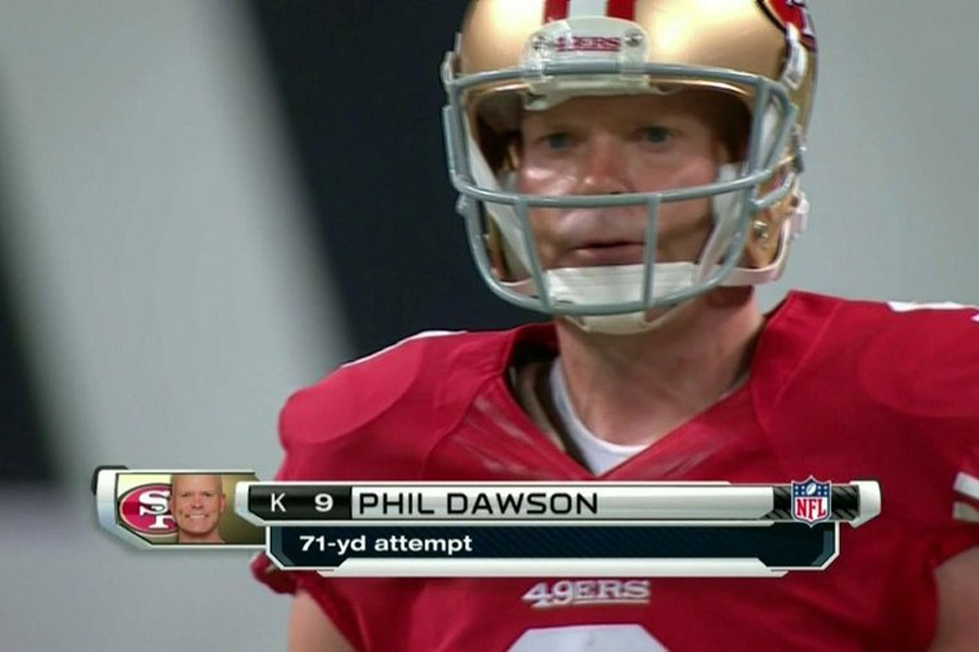 Phil Dawson attempts rare 71-yard free kick field goal, is short, obviously 46817