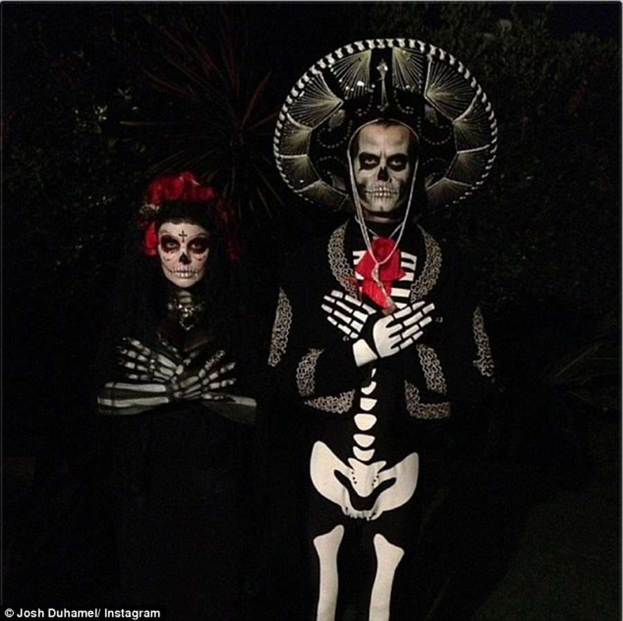 Until death': Fergie and Josh Duhamel express their eternal love for one another in coordinated Day Of The Dead-inspired Halloween costumes 47783