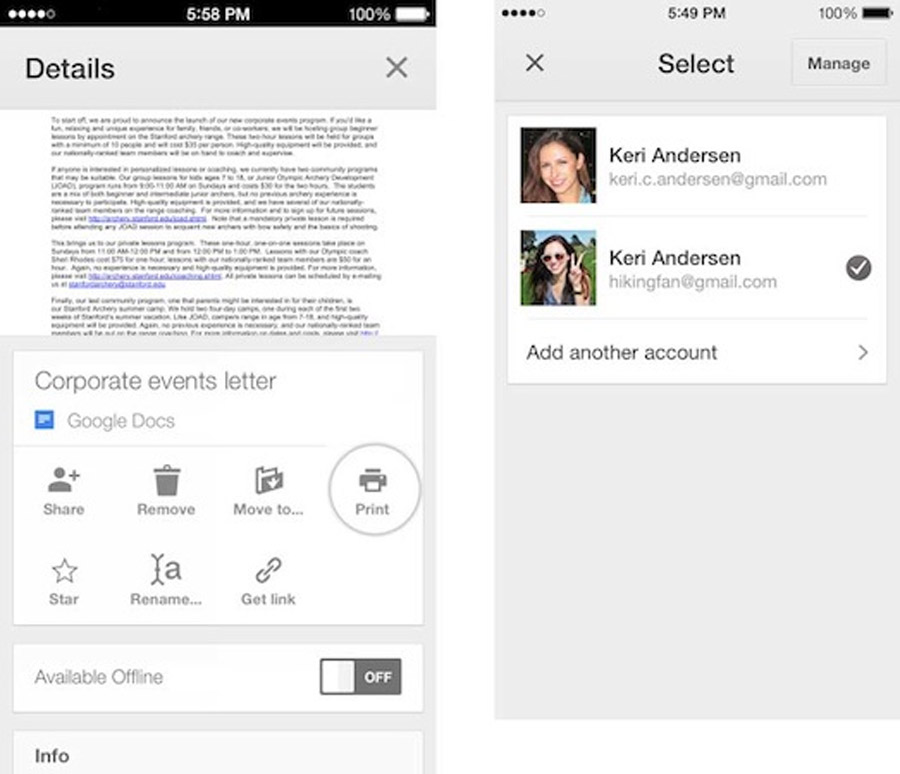 Google Drive for iOS now supports multiple accounts, AirPrint and CloudPrint capability  Mobile 47937