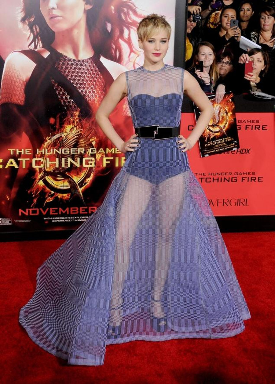 Jennifer Lawrence wears see-through dress at 'Hunger Games: Catching Fire' Los Angeles premiere 48177