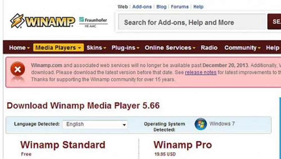 Bye, bye Winamp - and 5 other web tools that have bitten the dust 48225