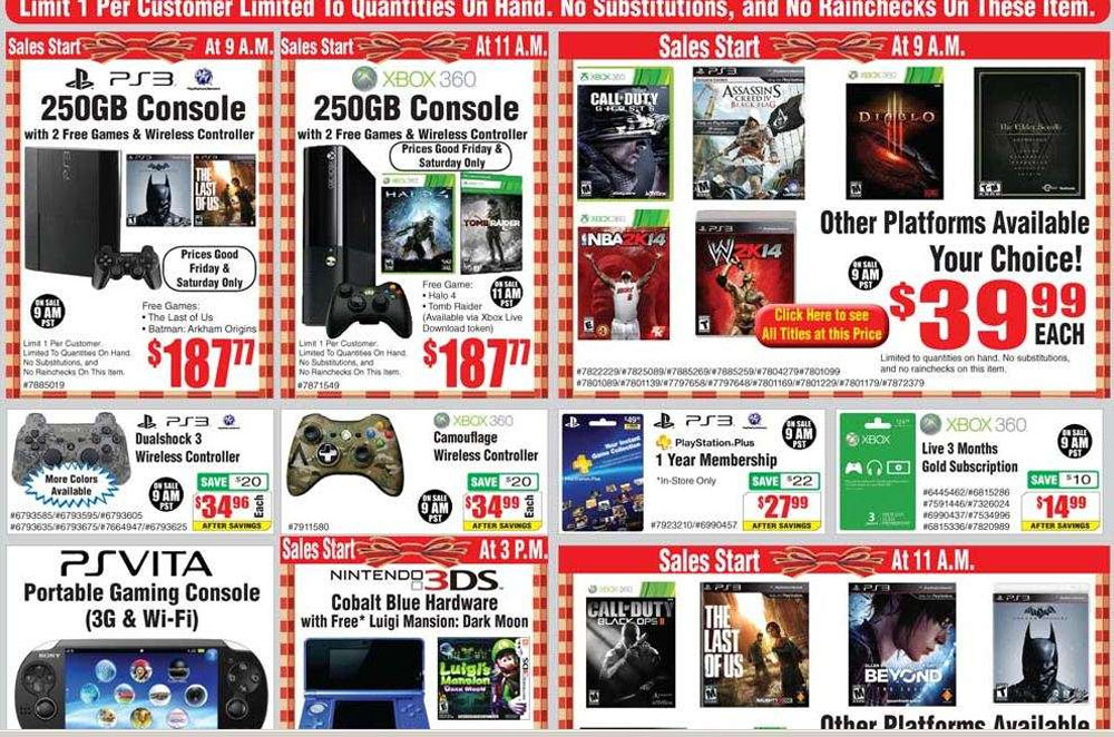 250GB Xbox 360, PS3 bundle for $ 187 at Fry's on Black Friday 48473