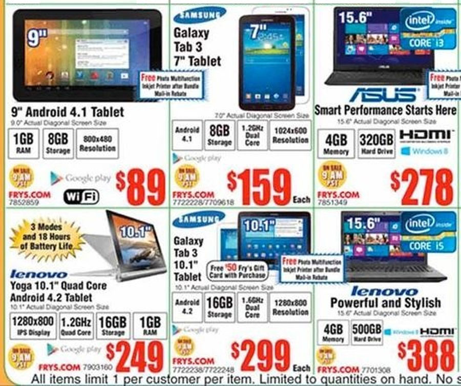 Fry's Electronics, Newegg Black Friday 2013 ads leak: Laptop, desktop, tablet PC deals 48576
