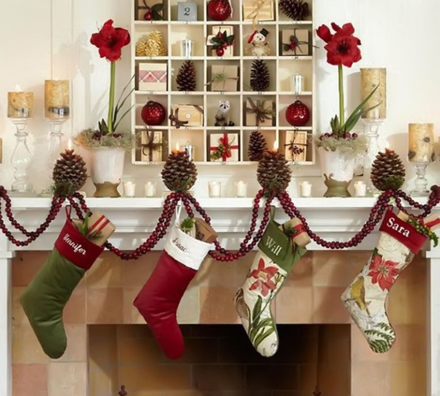 Decorative white as snow covered fireplace 48681