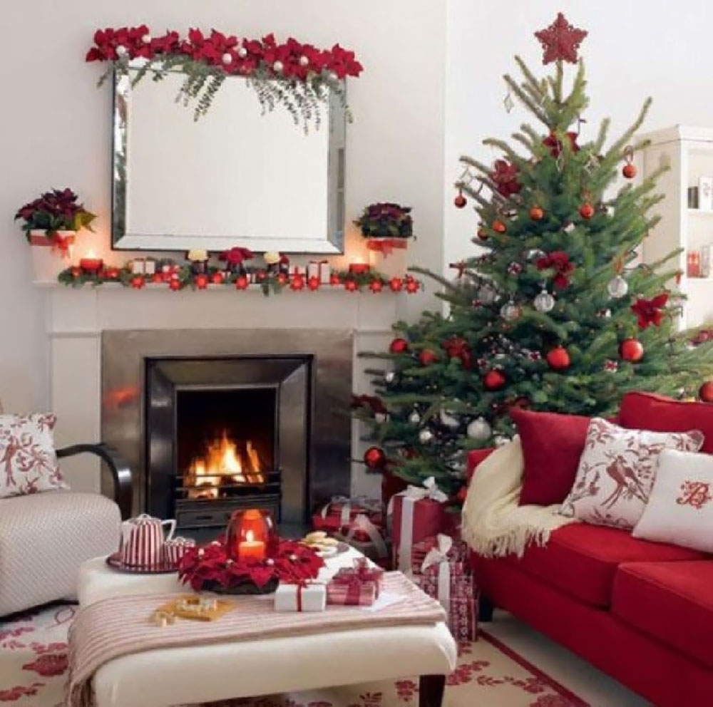 decorating ideas fireplace, Christmas tree 48765