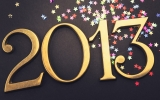 Gold 2013 New year text on christmas decoration 32279
