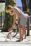 Candice Swanepoel Walks a Dog for a Photo Shoot 32995