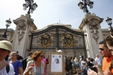 Thousands gathered outside Buckingham Palace as the Queen arrived home to wait for news of the royal birth after Kate went into labor 45348