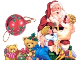 Santa Claus holding two babies 48597