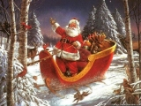 Santa Claus riding in snowy forest 48600