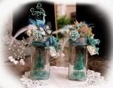 Glass vase decorated Christmas 48649