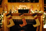 Beautiful Christmas decorations fireplace cool light. 48680