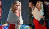 Holly Willoughby looks stunning in a red floor-length gown whilst filming Text Santa 48970